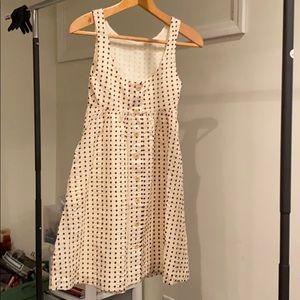 JCREW Women's 0 Cream White/Brown Polka Dot Dress